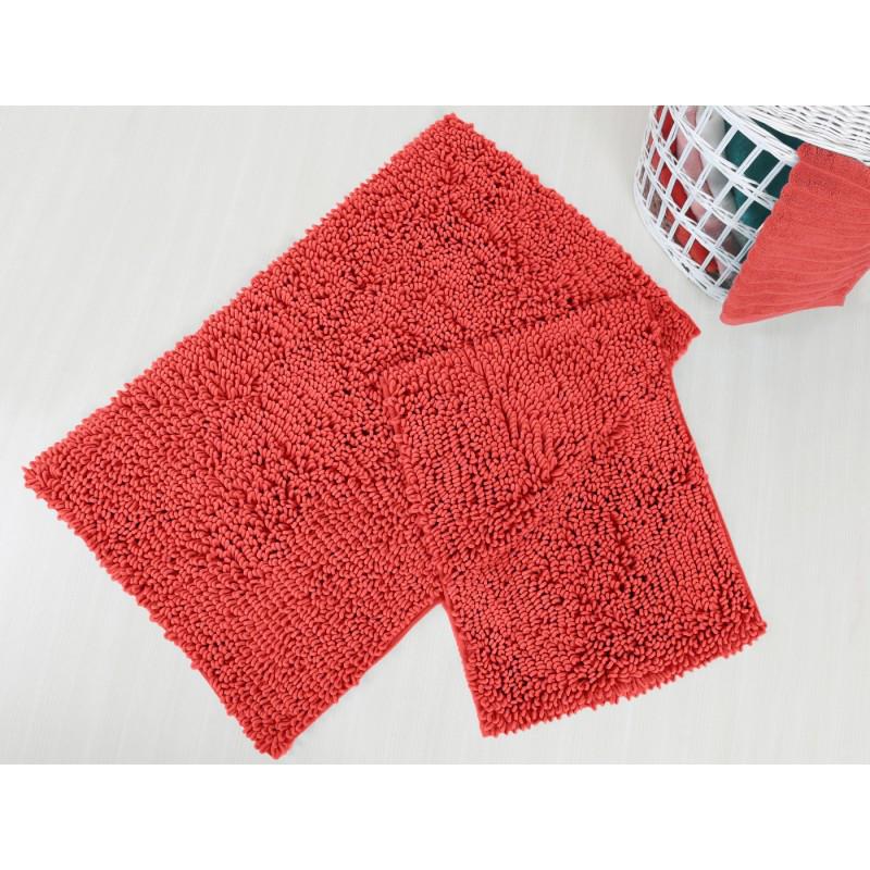 Набор ковриков для ванной Irya - Drop coral коралловый - 60*100+45*60 см