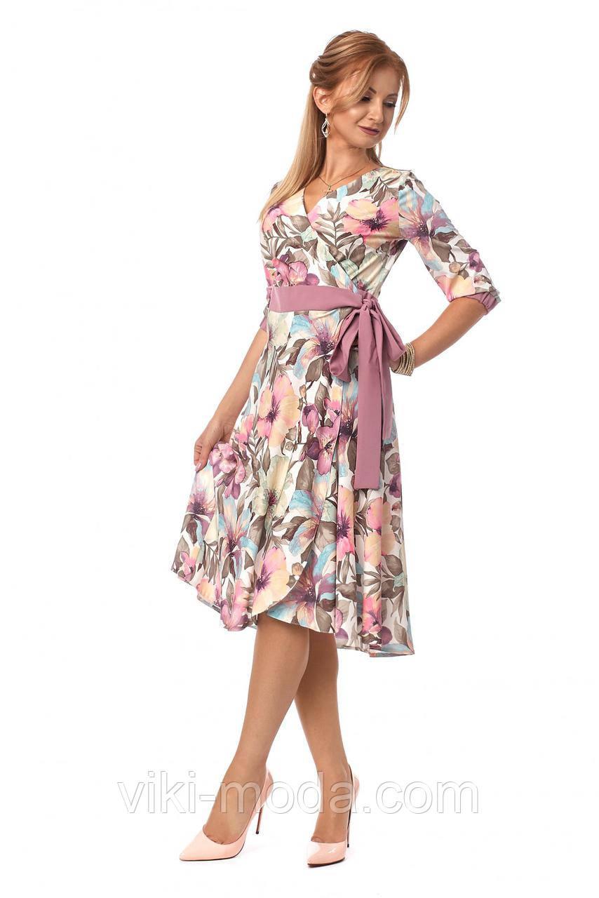 Платье женское на запах, принт цветы