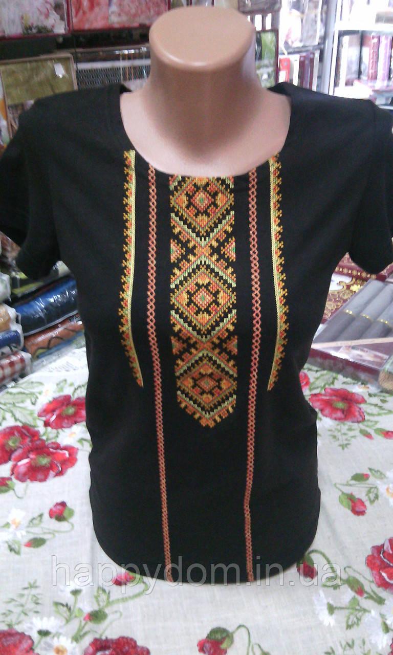 Вышиванка футболка женская черная
