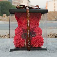 Мишка из 3D Роз Красный В подарочной упаковке