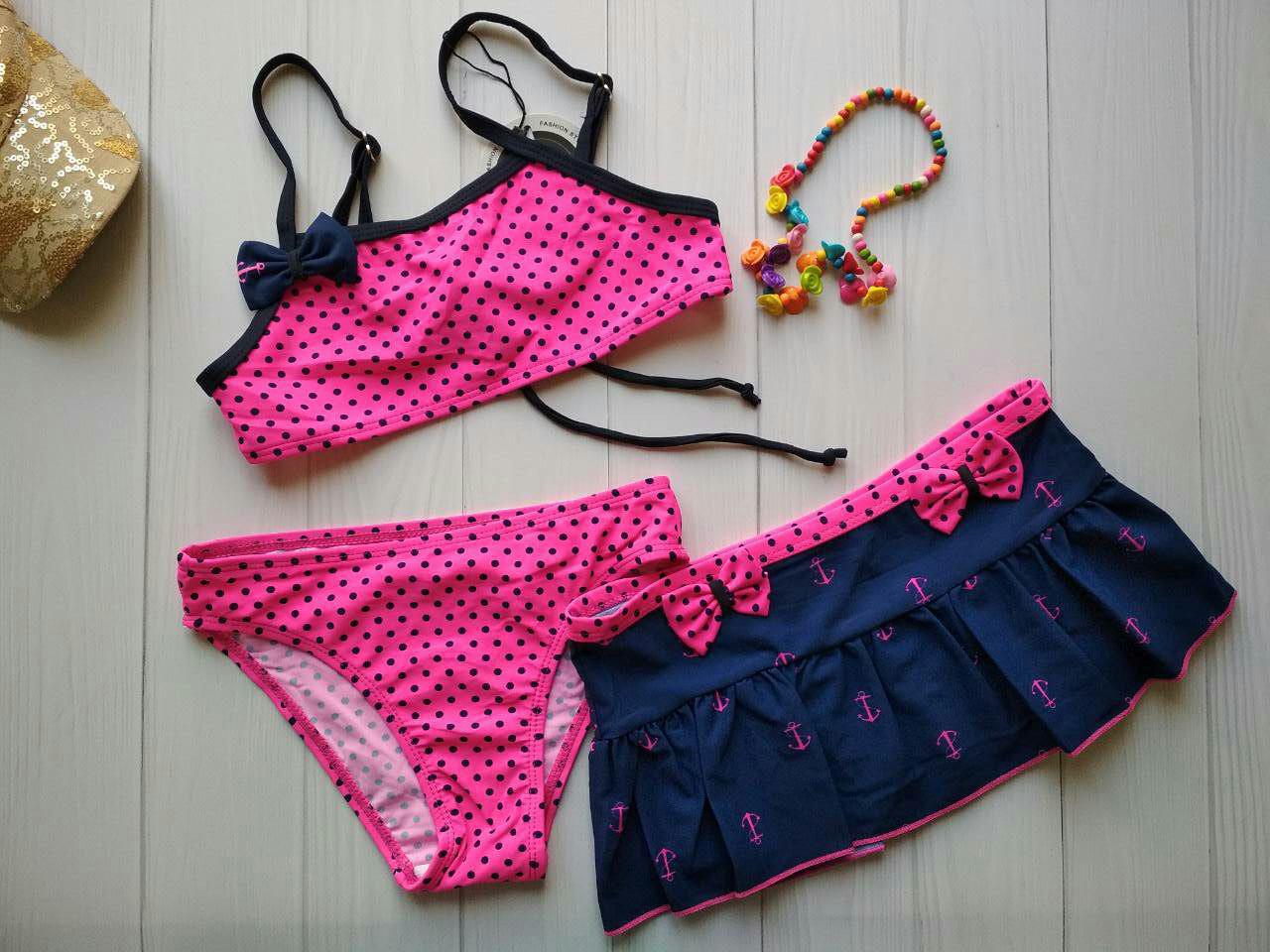 Купальник с юбкой розовый с принтом горох для девочки р.34-40