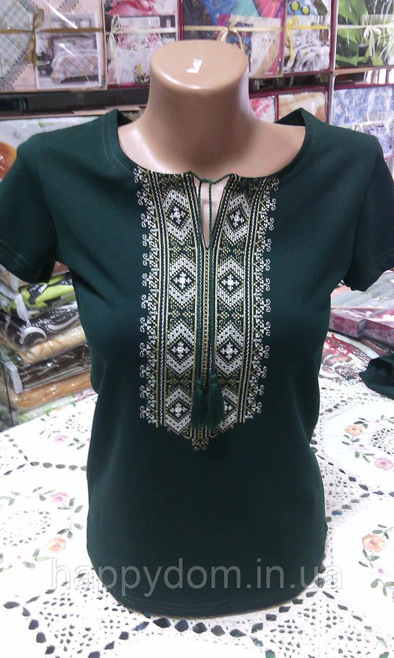 Вышиванка футболка женская зеленая