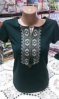 Вышиванка футболка женская зеленая, фото 1