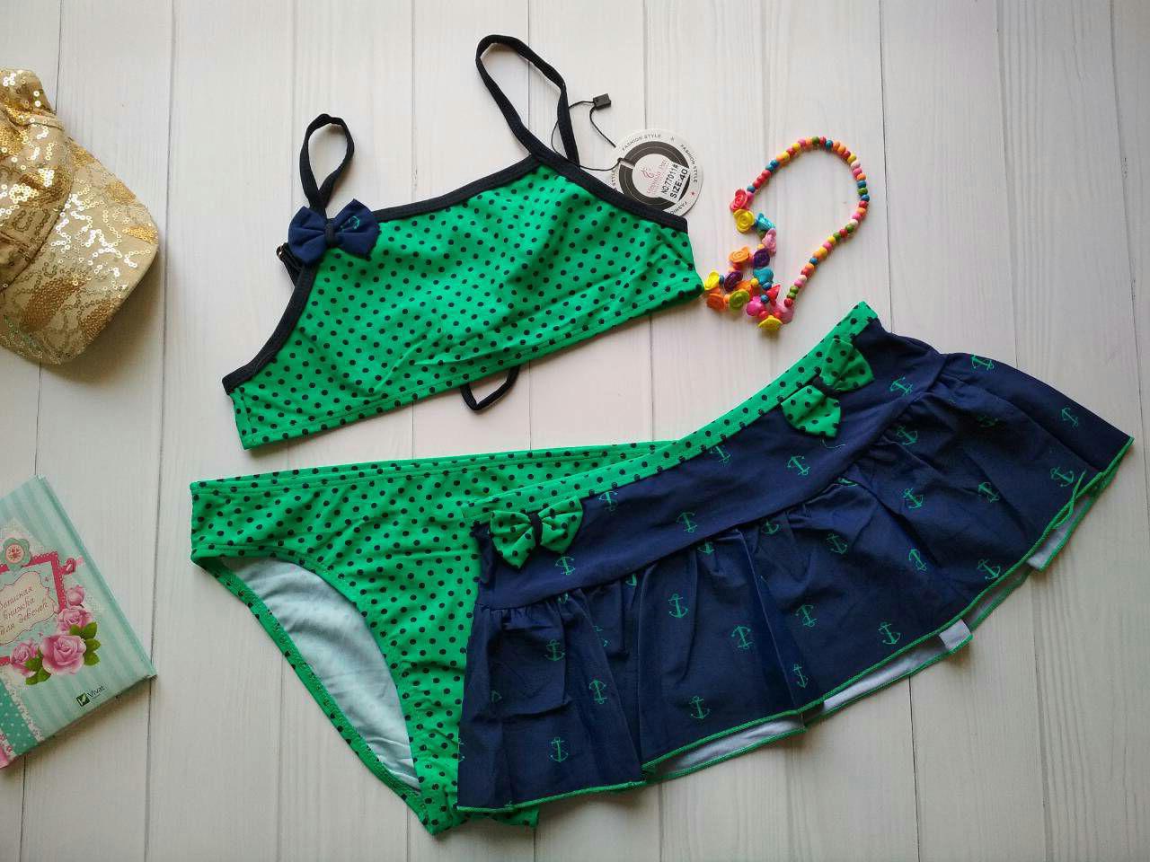 Купальник тройка зеленого цвета в горох для девочки р.32-40
