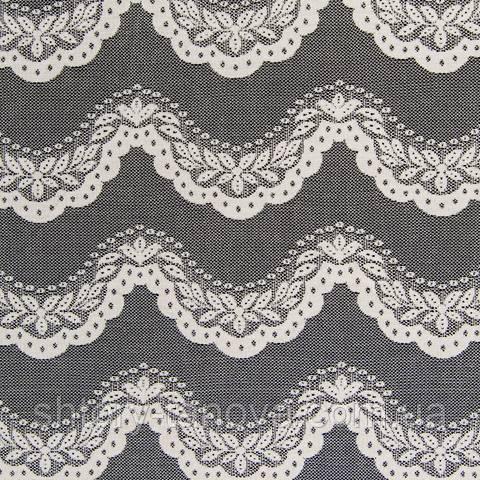 Тюль гипюр, орнамент молочно-серый