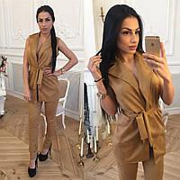 Костюм женский модный замшевый жилет и штаны разные цвета Kl879