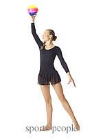 Купальник для гимнастики с длинным рукавом, юбка-пачка, х/б, размеры: S, M, L
