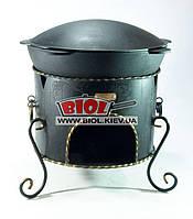 Казан чавунний 13л потовщений (7мм) азіатського типу WOK з чавунною кришкою-сковородою садж і піччю F, фото 1