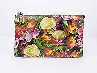 Кожаная сумочка, клатч Desisan 070-12 принт тюльпаны , расцветки , фото 1