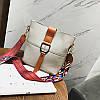 Жіноча сумка сіра з кольоровим плечовим ремінцем набір 2в1 екокожа опт