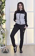 Женский спортивный костюм черный с серым, фото 1