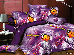 Семейный размер постельного белья Фиолетовая Бабочка 3 D