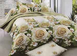 Семейный размер постельного белья Крем Роза 3 D