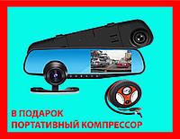 Зеркало видеорегистратор VEHICLE BLACKBOX DVR  full hd mirror car с камерой заднего вида два 2