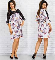 Шелковое платье  с гипюром (разные цвета) . код 178 Б