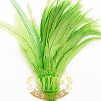 Перо петуха (выберите длину), ширина 2,5см, цвет Fluo Green, 1шт