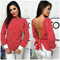 Стильная женская рубашка в полоску и горох