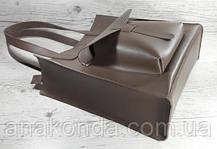 165 Сумка женская натуральная кожа, тауп (холодный песочный, темный бежевый) формат А4+, фото 2