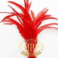 Перо петуха (выберите длинну), ширина 2,5см, цвет Red, 1шт