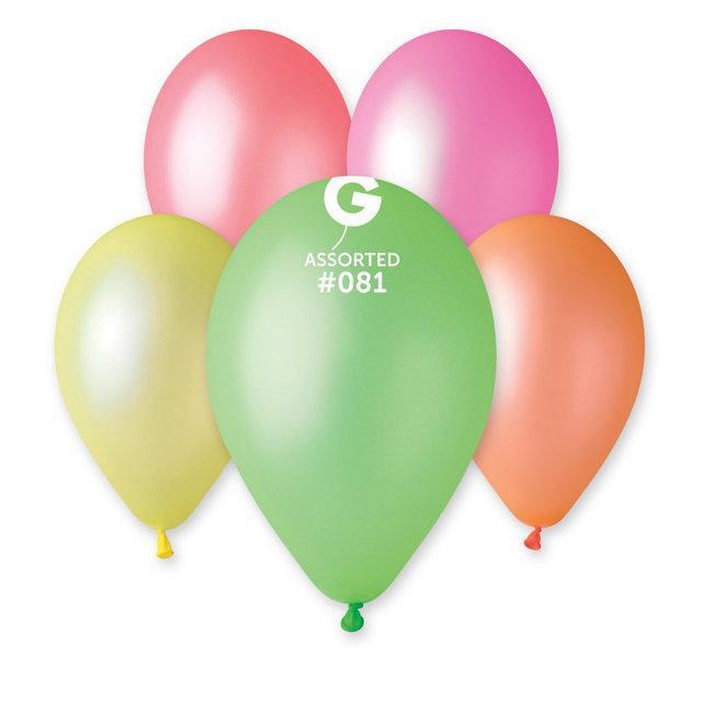"""Воздушные латексные шарики ассорти НЕОН 10"""" (25 см) 100 шт, Gemar Италия"""