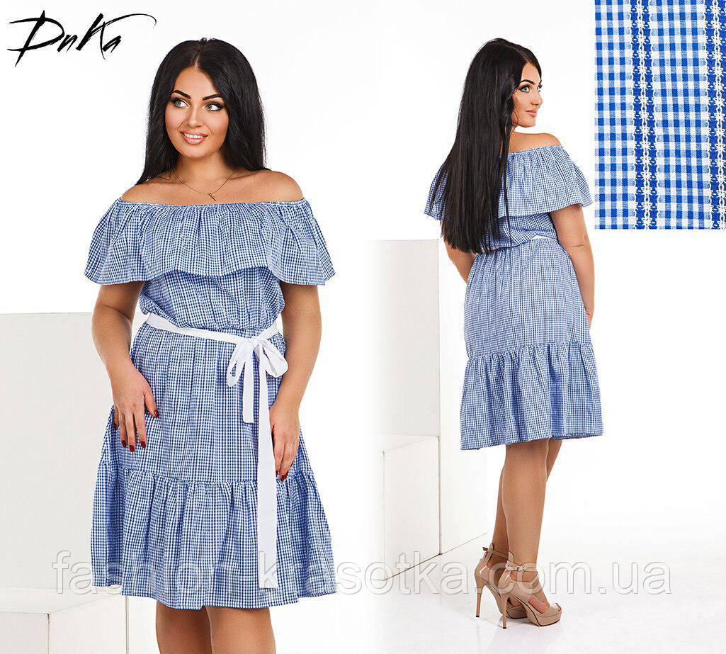 Модное легкое летнее платье Волан,ткань летний батист  в размерах 42-56