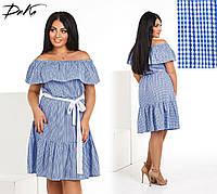 Модное легкое летнее платье Волан,ткань летний батист  в размерах 42-56, фото 1