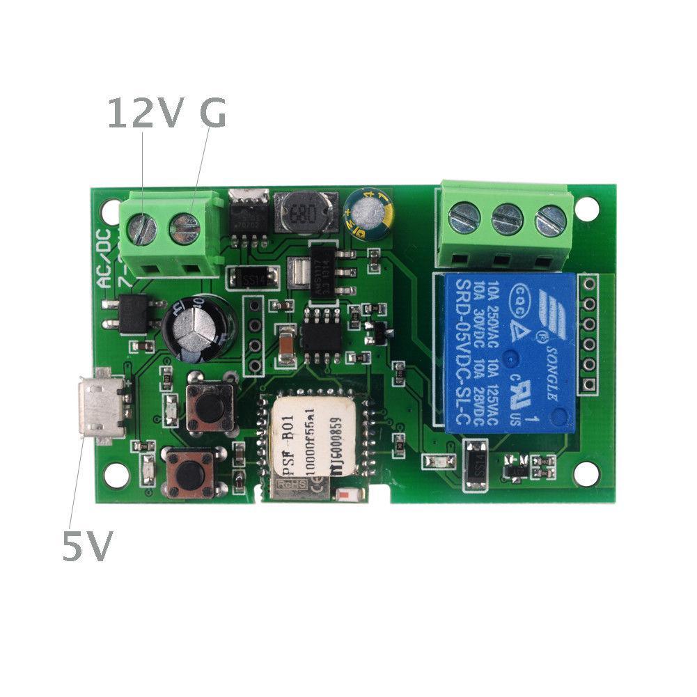 WiFi 1 канальный толчковый самоблокирующийся выключатель 5\12V