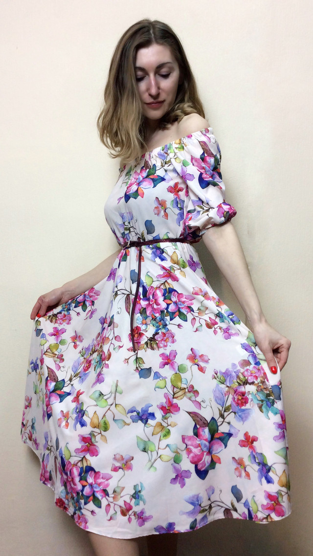 Платье миди-клёш,  на резинках П231