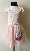 Пудровое нарядное платье на девочку с фатином 5-10 лет, фото 1