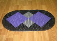 Овальный пластиковый придверный коврик Ромбы с щетиной