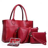 Женская сумка набор 3в1 + маникюрный набор красный опт, фото 1
