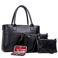 Жіноча сумка набір 3в1 + манікюрний набір чорний опт, фото 1