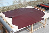 Кожа натуральная ременная с финишным покрытием бордовая, толщина 3.5 мм, арт. СК 1695
