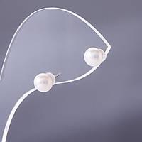 Серьги гвоздики с белой жемчужиной (нат.) d-7мм