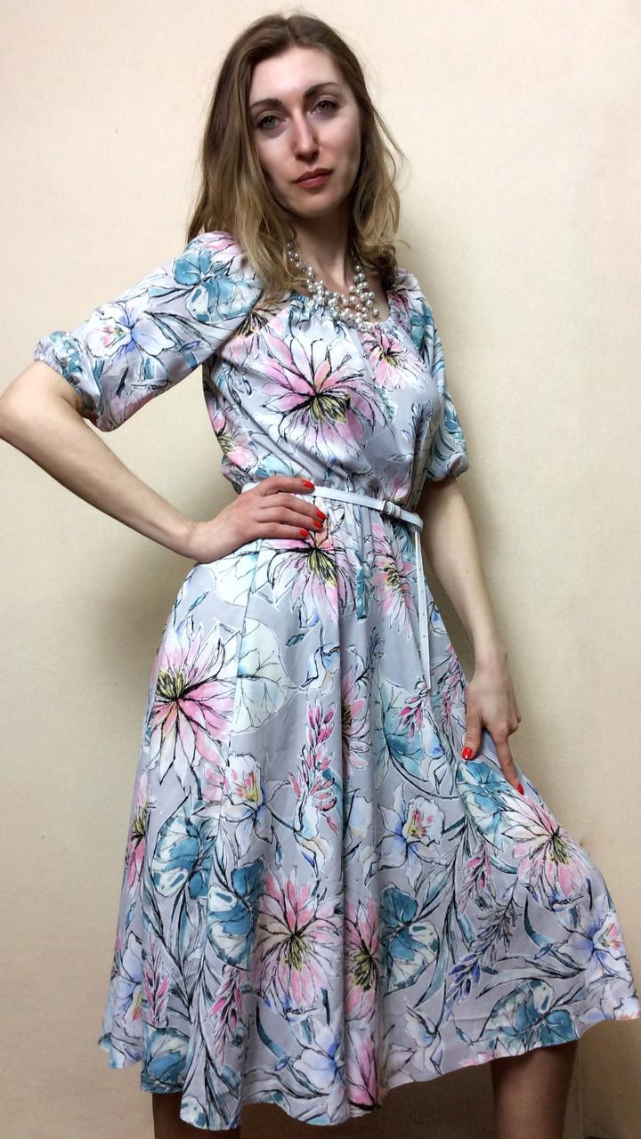 Платье миди-клёш, на резинках из штапеля П231  продажа, цена в Киеве ... 74935a5e2b0