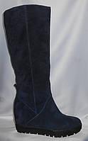 Синие женские зимние сапоги на танкетке из натуральной замши (сникерсы)