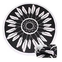 Пляжный махровый коврик Ловец снов,160 см.черный с белым. Микрофибра