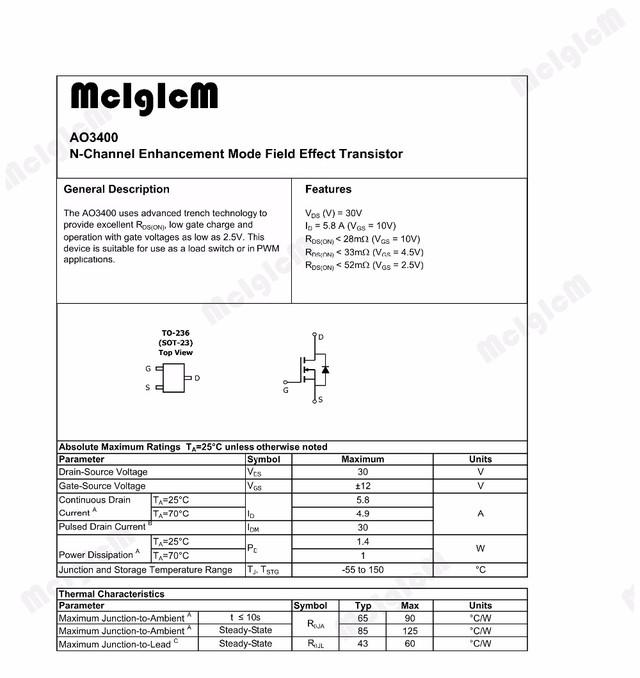 Транзистор полевой AO3400 AO3400A SOT23