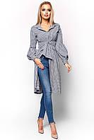 Элегантное Платье Рубашка в Мелкую Клетку Темно-Синее S-XL, фото 1