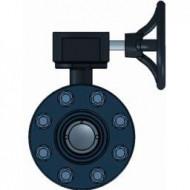 Дисковый затворPVC/PVC/EPDM DN225 (d.250 mm)  НПВХ с редуктором (с фланцами)