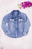 Детская джинсовая рубашка Бантики с бусинок 5-9лет