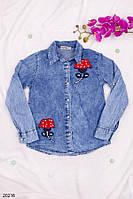 Детская джинсовая рубашка Цветочки красные 9-13лет