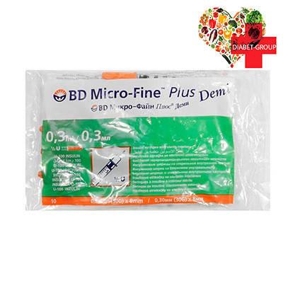 Шприц Микро Файн Плюс Деми (Micro Fine+) Demi 0,3 мл U-100 0,30 (30G)*8 мм ( 2 упаковки), фото 2