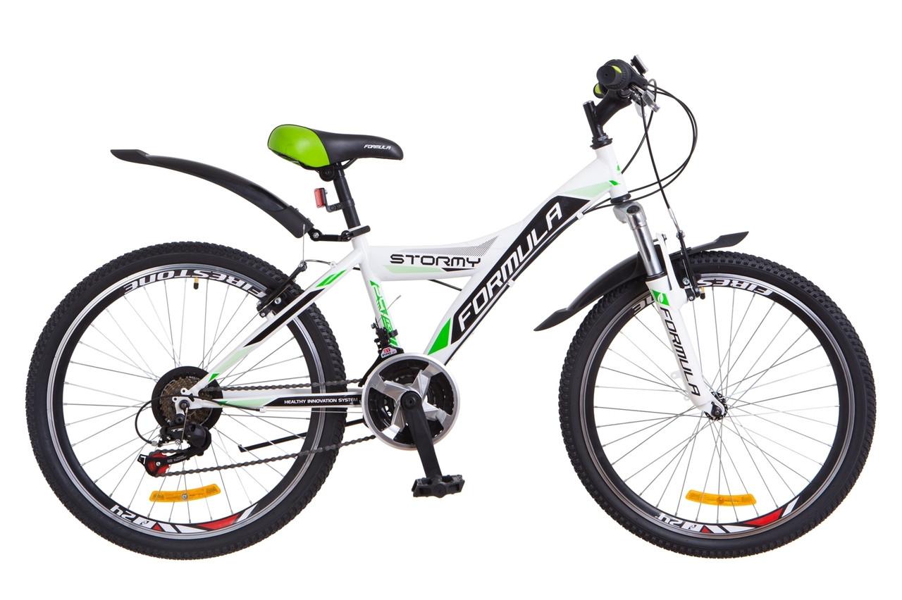 Велосипед горный  Formula Stormy 24 2018 (бело-зеленый )