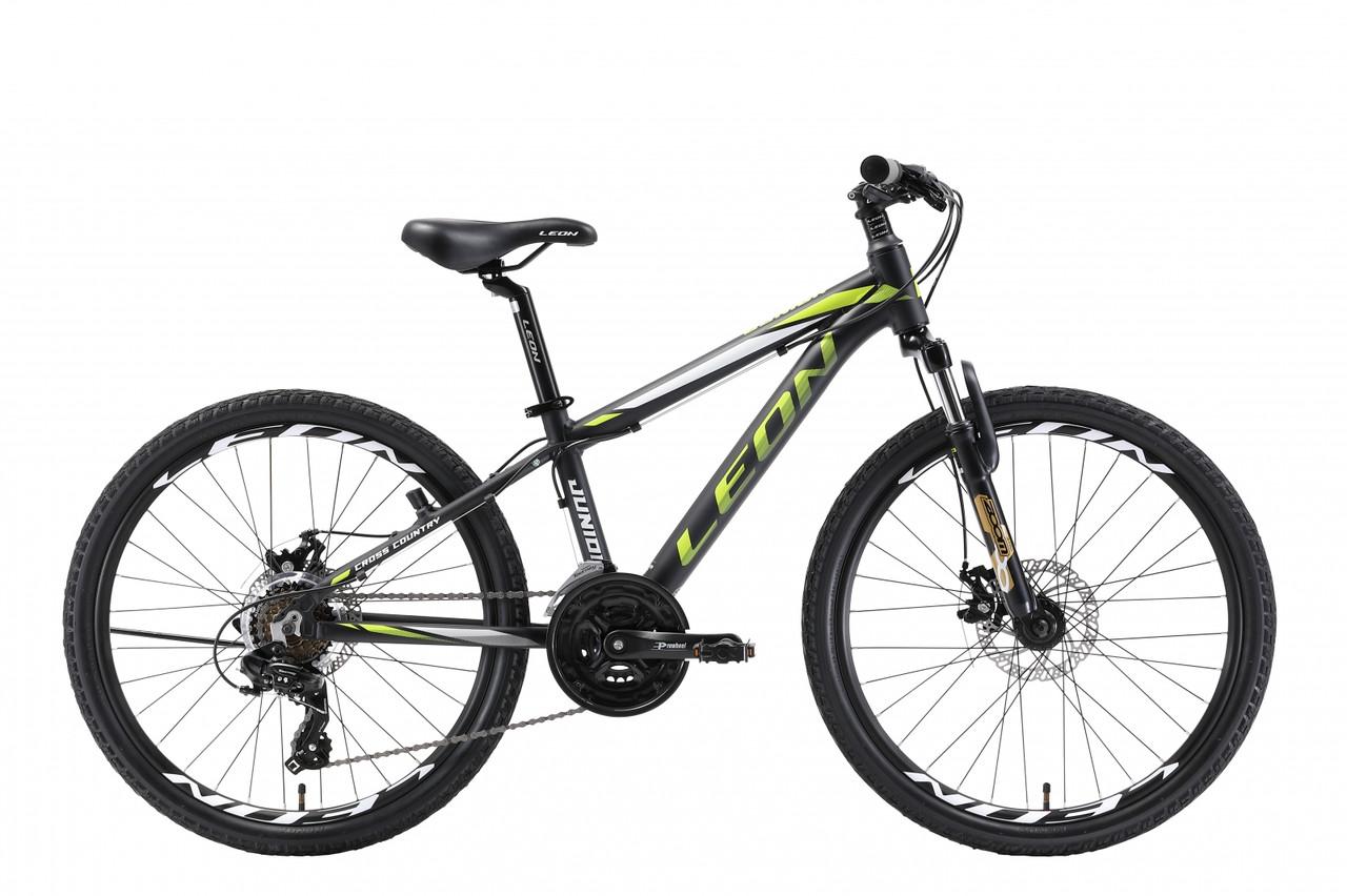 Велосипед горный универсальный 24 Leon junior am dd 2018 (черно-салатный (м))