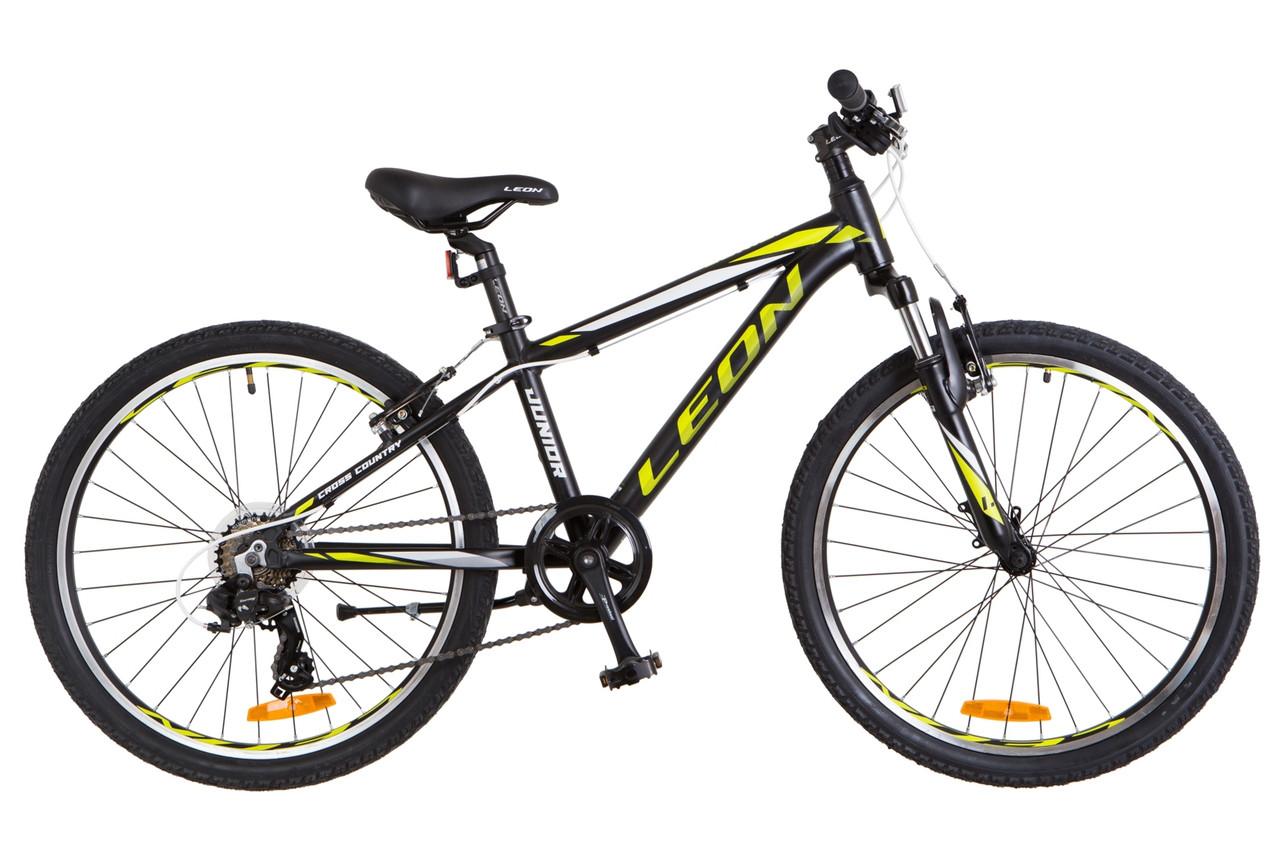 Велосипед горный универсальный 24 Leon junior am vbr 2018 (черно-салатный (м))