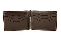 Зажим-портмоне кожаный, шоколад