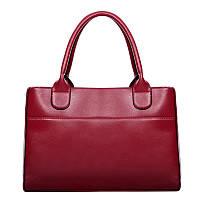 Женская сумка вместительная на молнии красная опт