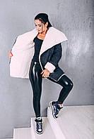 Пальто из шерсти на овчине Д 348, цвет синий