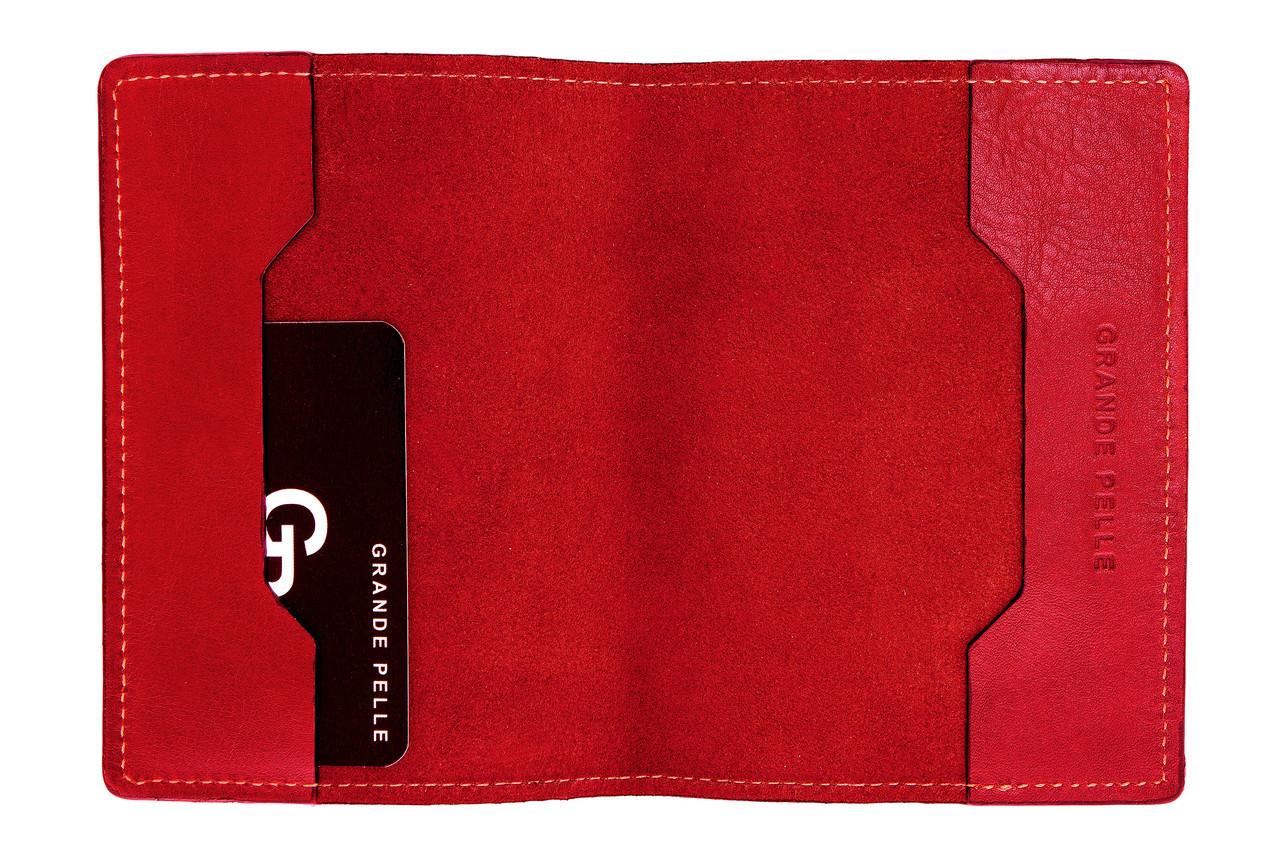 Обложка кожаная для паспорта, красный